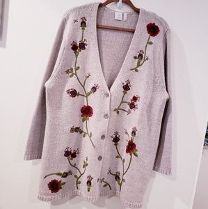 J.jill  Floral embroidered cardigan sweater